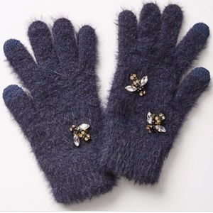 Anthropologie WELL EMBELLISHED BEE 🐝 GLOVES BLUE